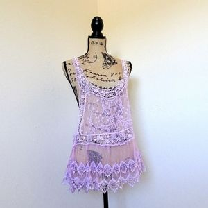 Boho Lavender Lilac Lace Tank Top Cover Up